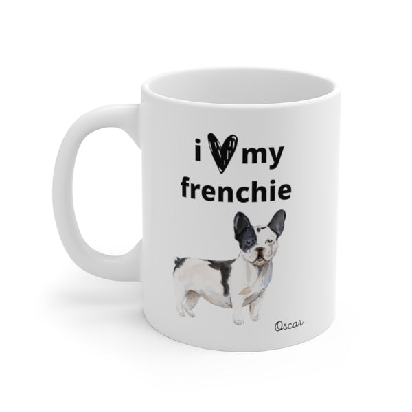 i love my frenchie Mug — Black & White Frenc Bulldog (left side view)