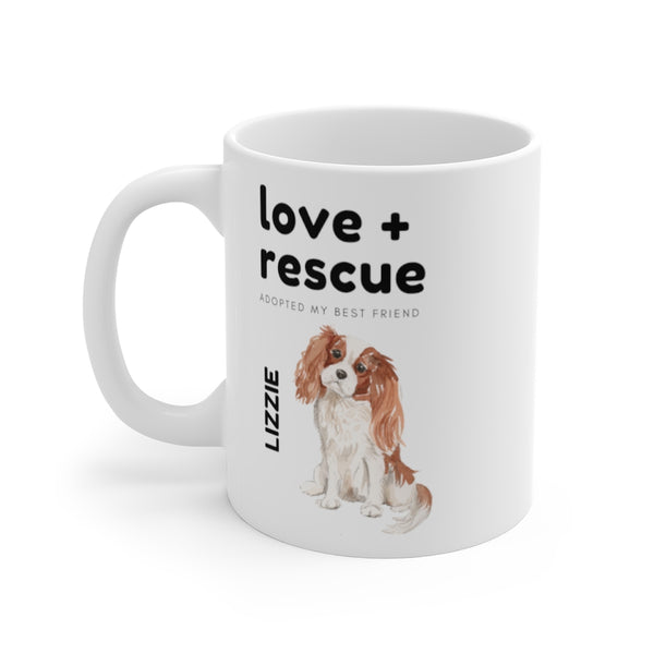 love + rescue Mug — Blenheim Cavalier King Charles Spaniel (left side view)