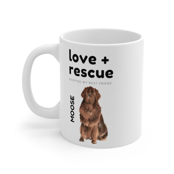 love + rescue Mug — Newfie (left side view)