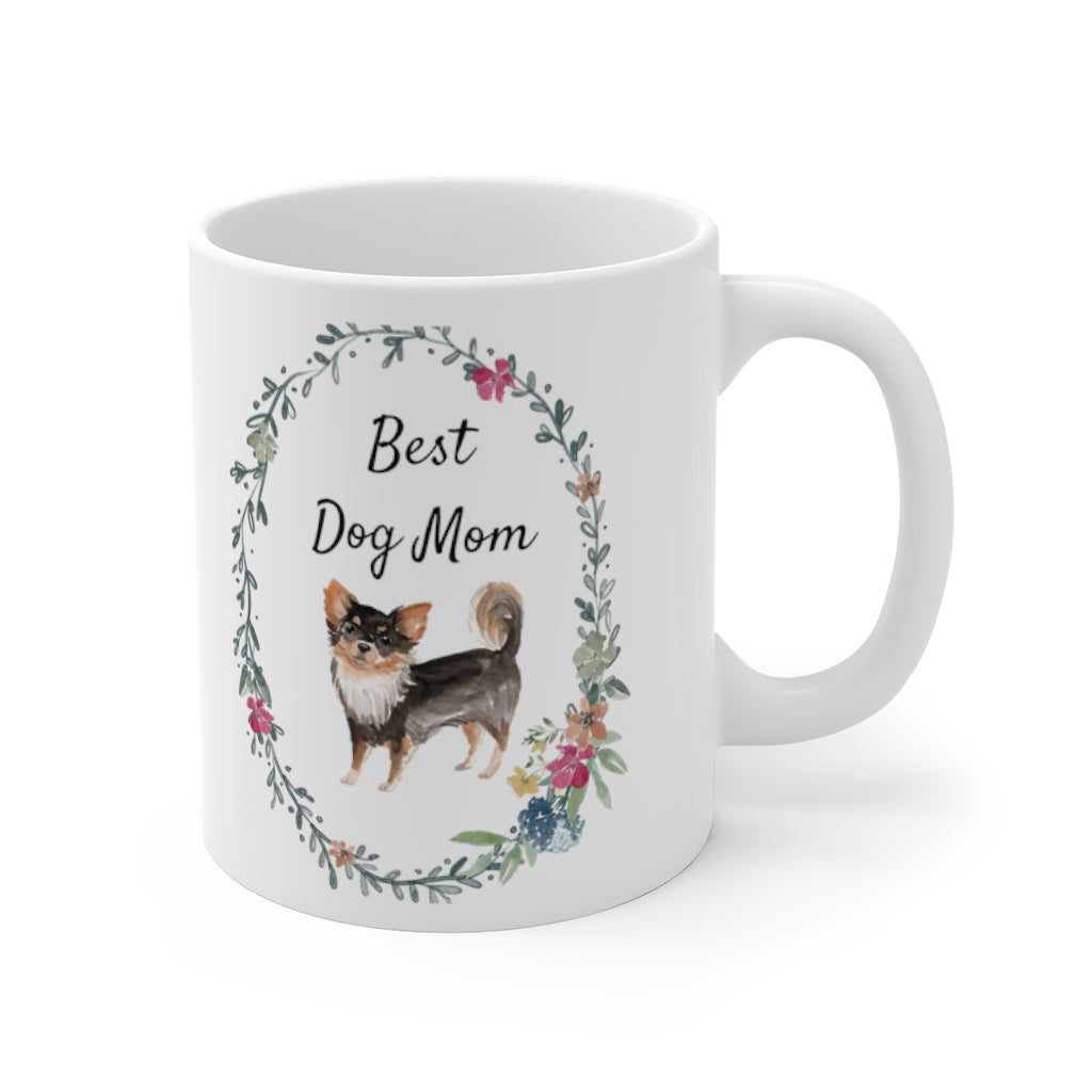 Best Dog Mom Mug — Long Haired Chihuahua (right side view)