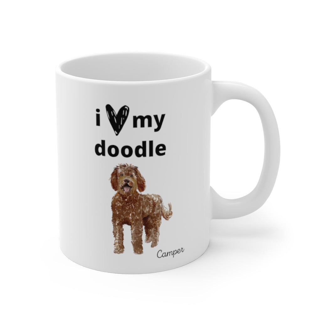 i love my doodle Mug — Chocolate Labradoodle (right side view)