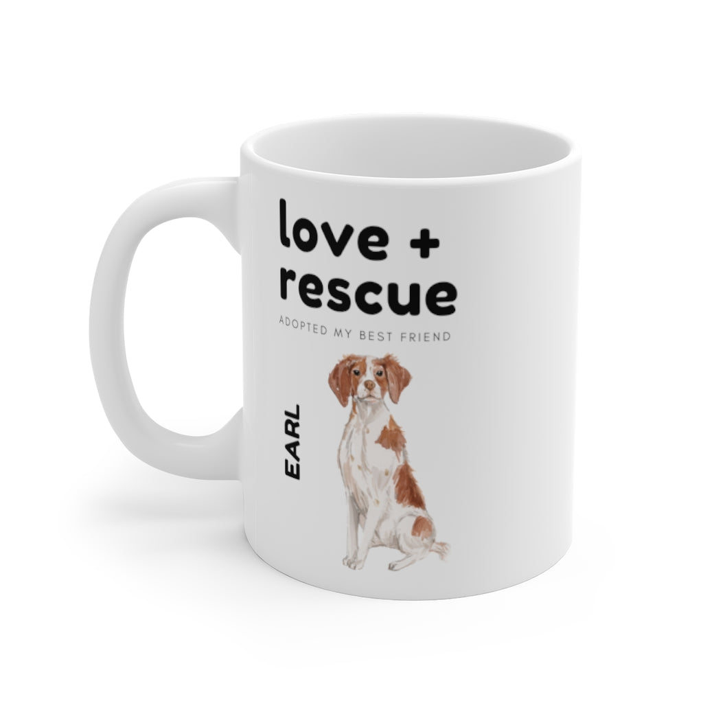 love + rescue Mug — Brittany (left side view)
