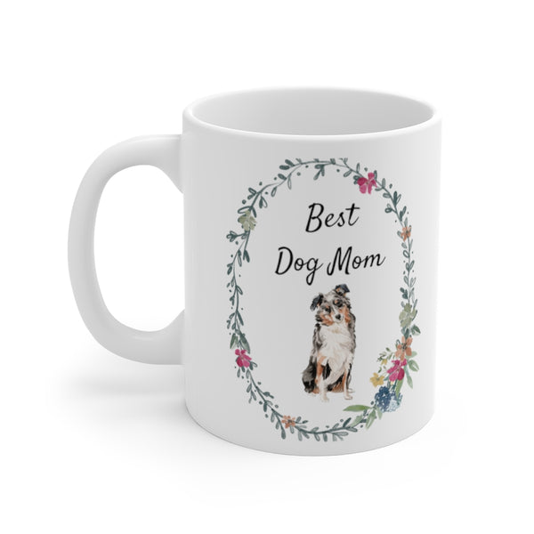 Best Dog Mom Mug — Aussie (left side view)