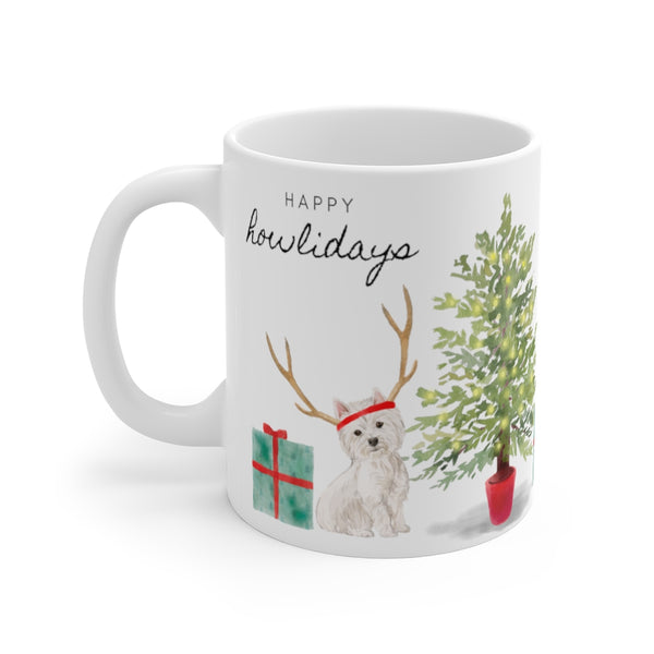 Happy Howlidays Mug — Westie (left side view)