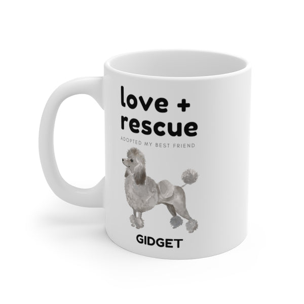 love + rescue Mug — Silver Poodle (left side view)