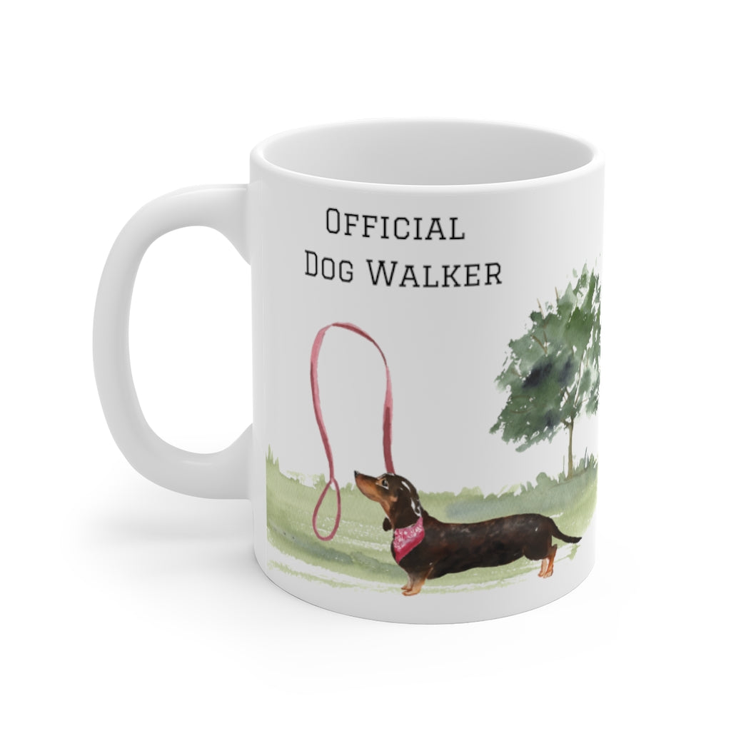 Official Dog Walker Mug — Doxie (left side view)