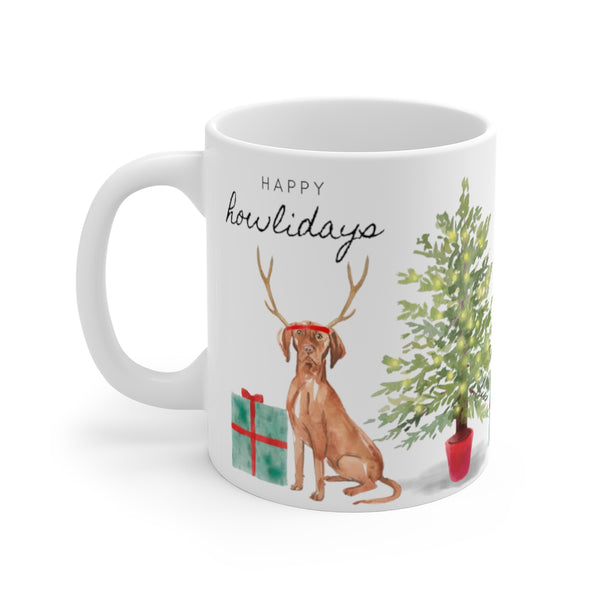 Happy Howlidays Mug — Vizsla (left side view)
