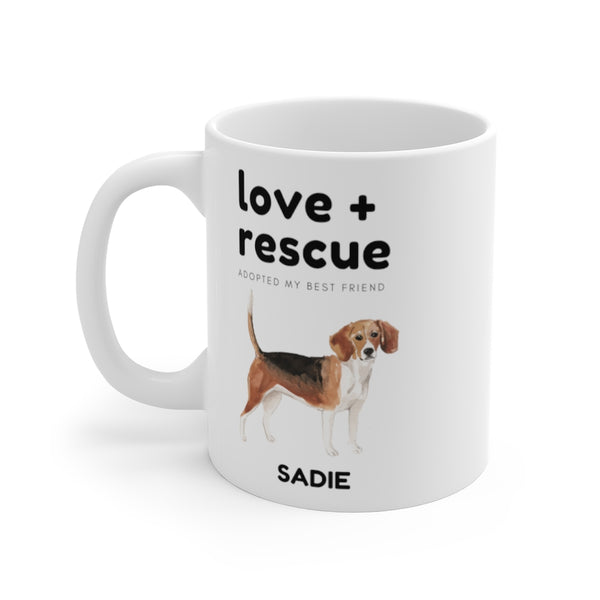 love + rescue Mug — Beagle (left side view)