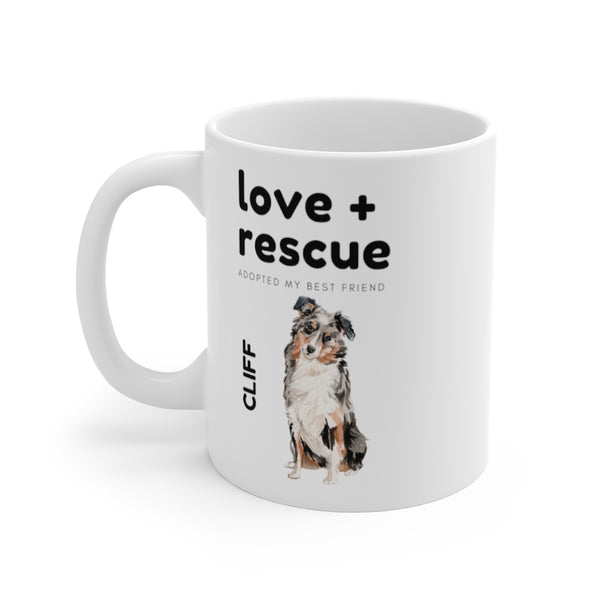 love + rescue Mug — Australian Shepherd (left side view)