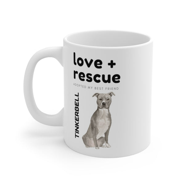 love + rescue Mug — Blue & White Staffie (left side view)