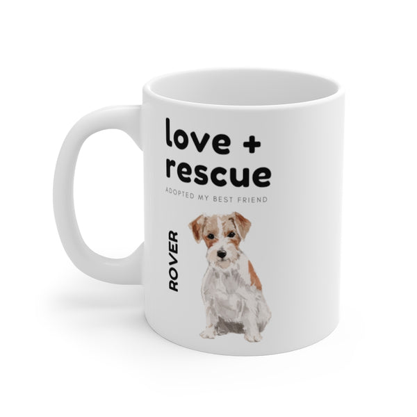 love + rescue Mug — Wire Haired Terrier (left side view)
