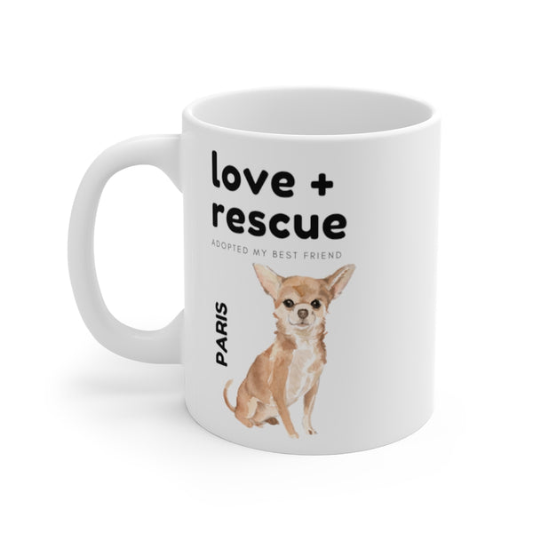 love + rescue Mug — Chihuahua (left side view)