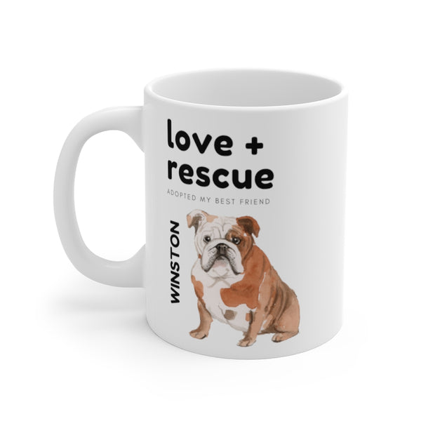 love + rescue Mug — English Bulldog (left side view)