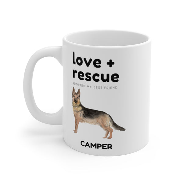 love + rescue Mug — German Shepherd (left side view)