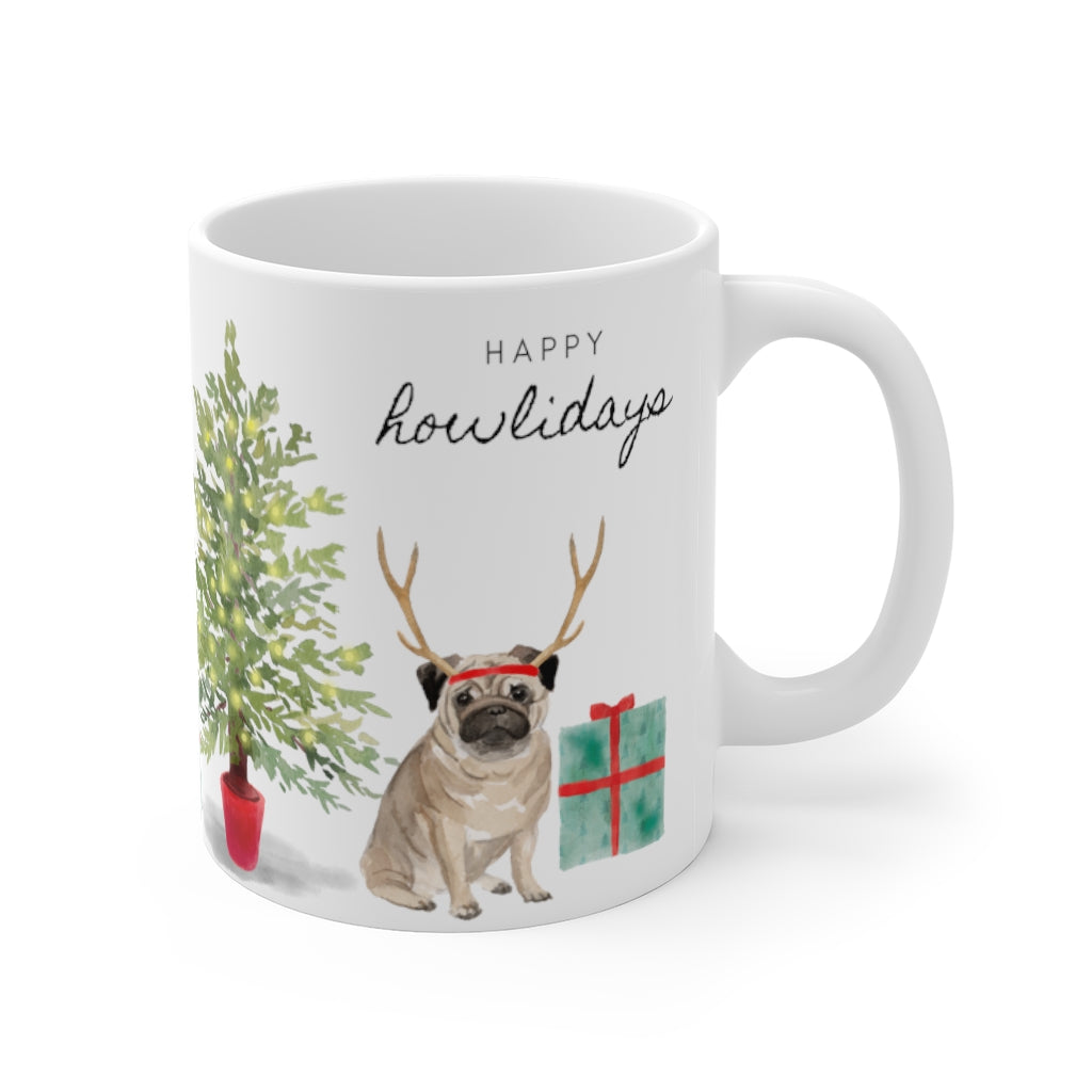 Happy Howlidays Mug — Pug (right side view)