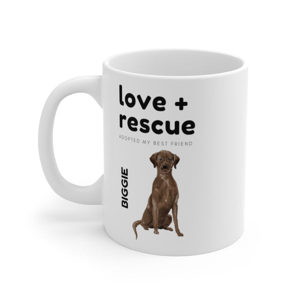 love + rescue Mug — Chocolate Lab (left side view)