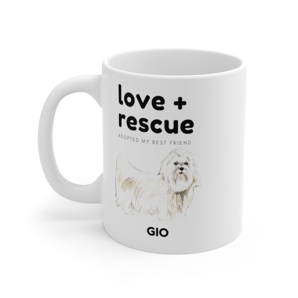 love + rescue Mug — Maltese (left side view)