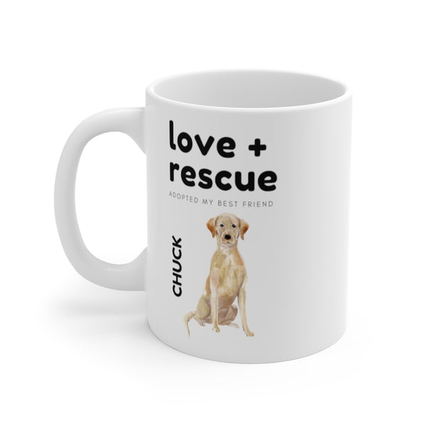 love + rescue Mug — Yellow Lab (left side view)