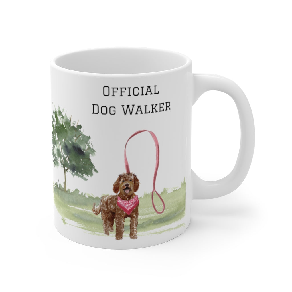 Official Dog Walker Mug — Chocolate Labradoodle (right side view)