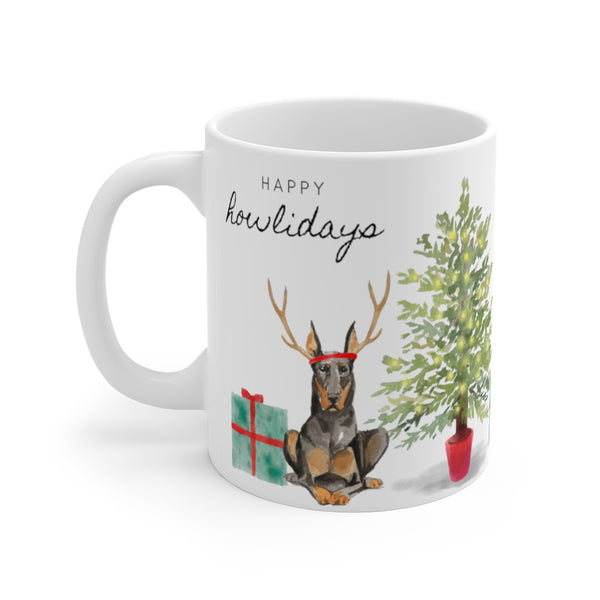 Happy Howlidays Mug — Doberman (left side view)