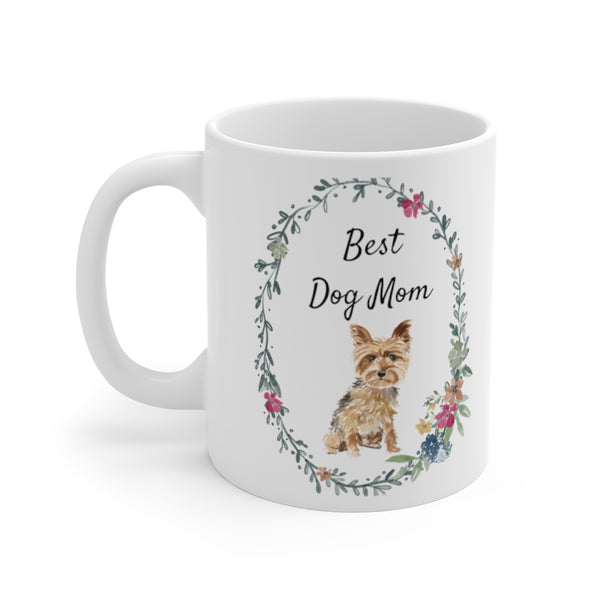 Best Dog Mom Mug — Yorkie (left side view)