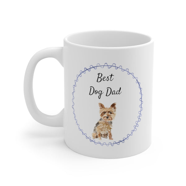 Best Dog Dad Mug — Yorkie (left side view)