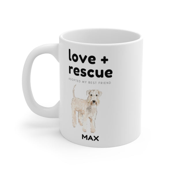 love + rescue Mug — Wheaten Terrier (left side view)