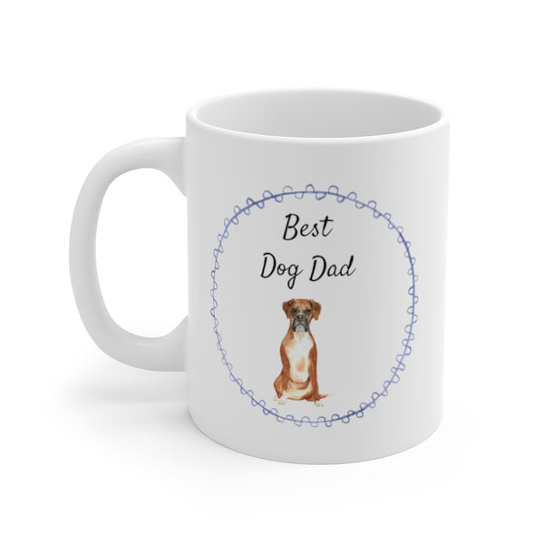Best Dog Dad Mug — Boxer (left side view)