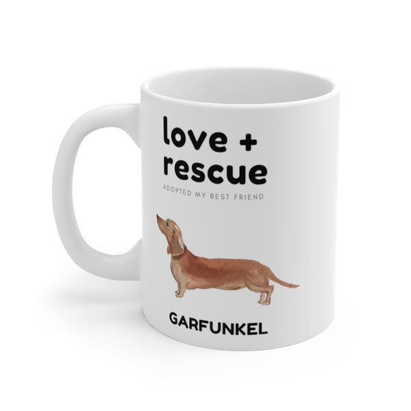 love + rescue Mug — Doxie (left side view)