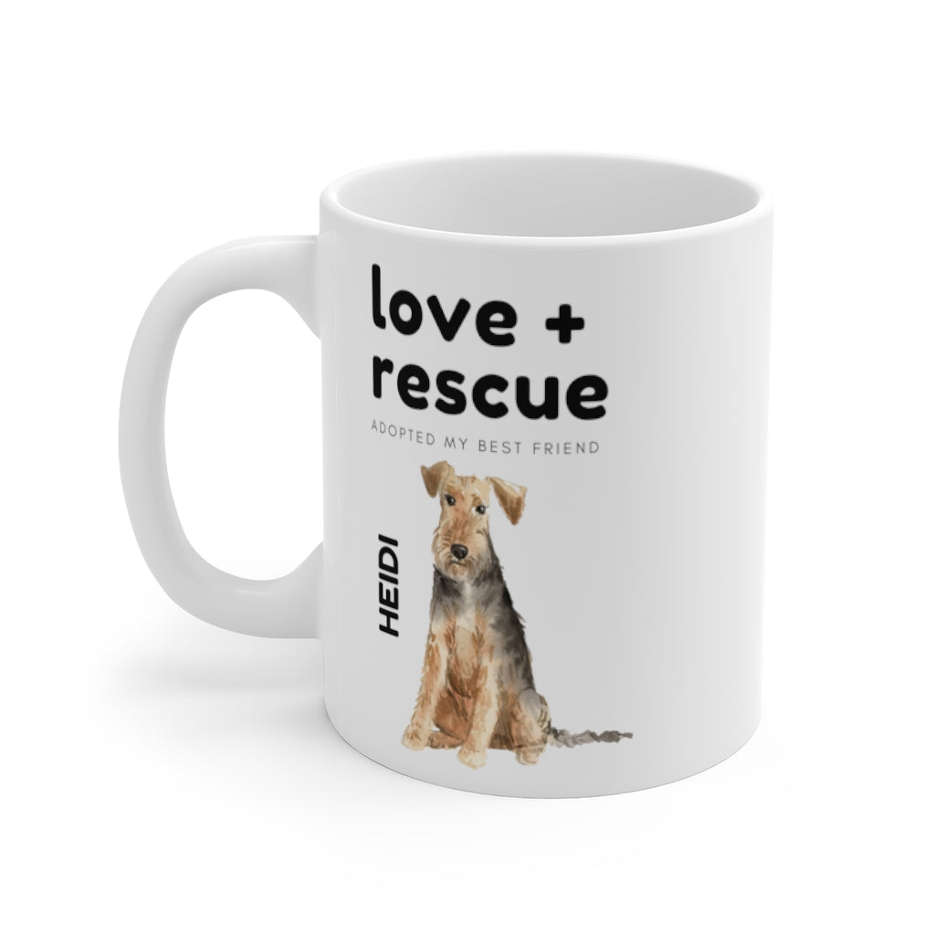 love + rescue Mug — Welsh Terrier (left side view)