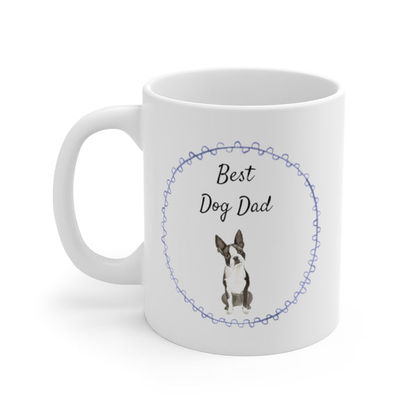 Best Dog Dad Mug — Boston (left side view)