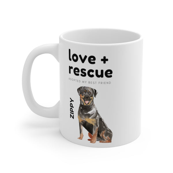 love + rescue Mug — Rottweiler (left side view)