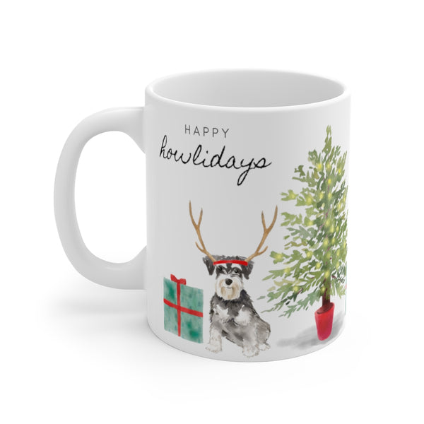 Happy Howlidays Mug — Mini Schnauzer (left side view)