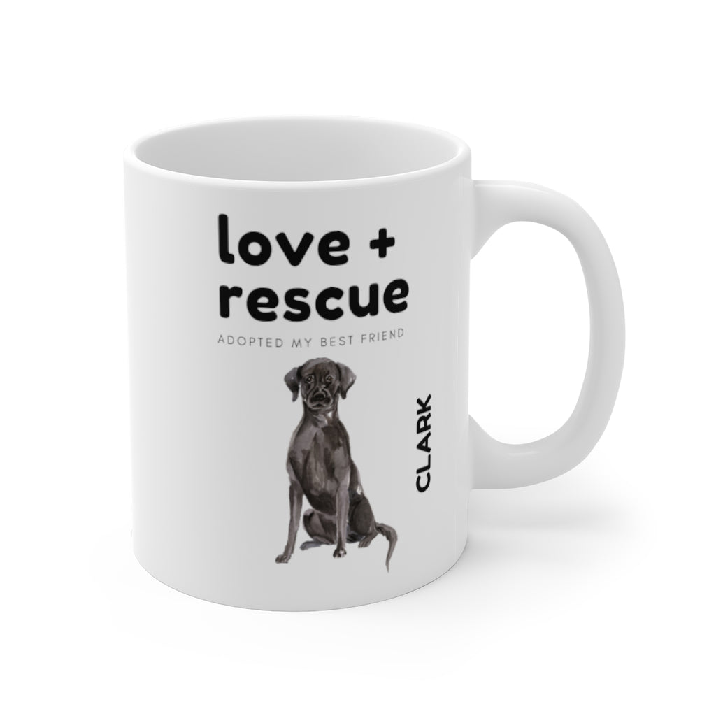 love + rescue Mug — Black Lab (right side view)