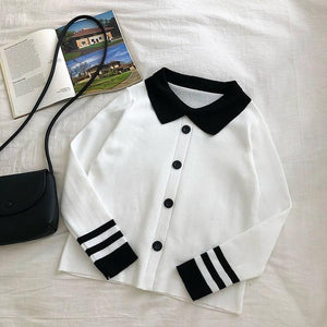 Preppy Polo Collar Sweater - Momo Babe