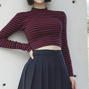 Striped Long Sleeve Turtleneck Top - Momo Babe