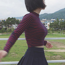Load image into Gallery viewer, Striped Long Sleeve Turtleneck Top - Momo Babe
