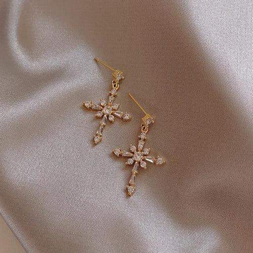 Golden Cross Crystal Earrings - Momo Babe