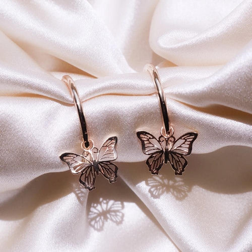 Rose Gold Butterfly Drop Earrings - Momo Babe