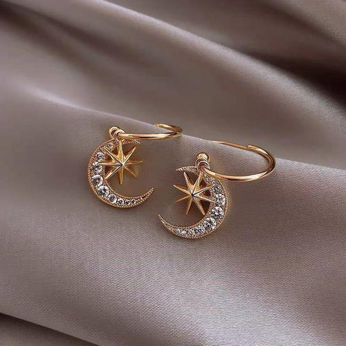Moon Star Crystal Earrings - Momo Babe