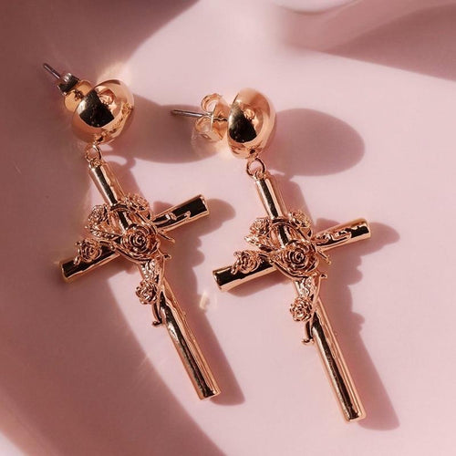 Gold Cross Rose Drop Earrings - Momo Babe