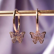 Load image into Gallery viewer, Rose Gold Butterfly Drop Earrings - Momo Babe