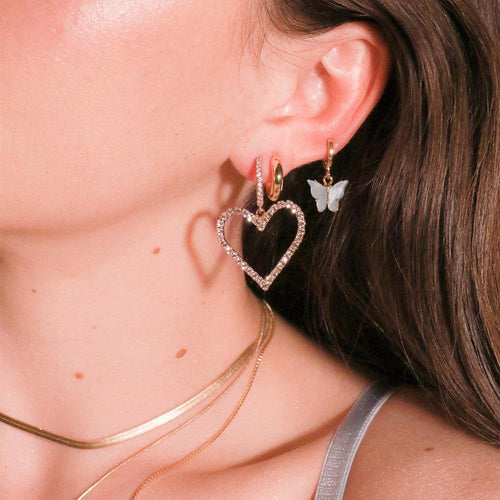 Rose Gold Hollow Heart Crystal Earrings - Momo Babe