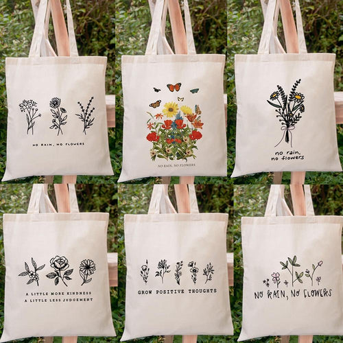 Minimalist Flower Tote Bag Collection - Momo Babe