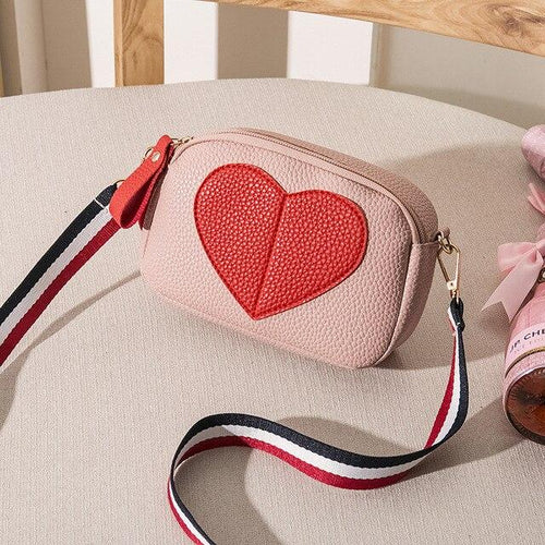 Small Faux Leather Heart Crossbody bag - Momo Babe