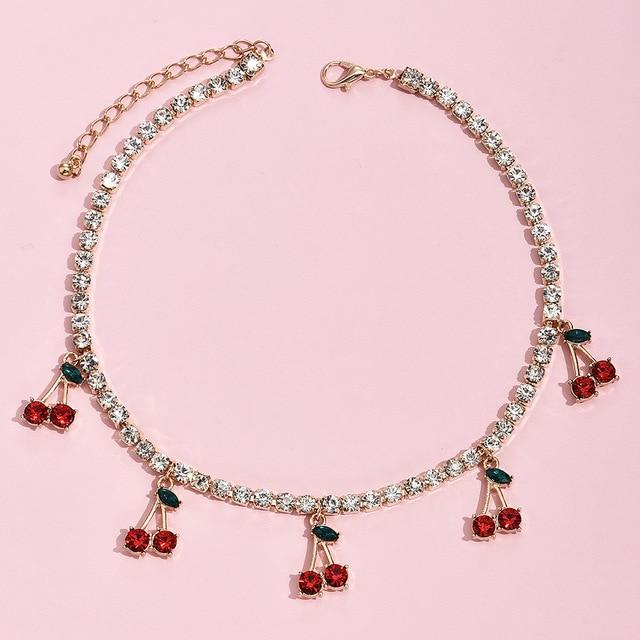 Cherry Rhinestone Necklace - Momo Babe