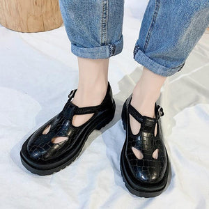 Hollow FChunky Mary Jane Shoes - Momo Babe