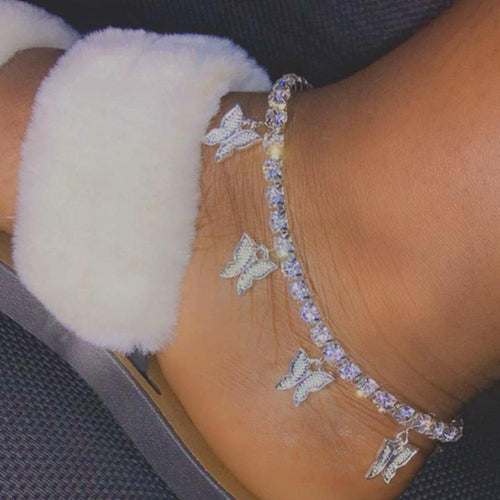 Rhinestone Butterfly  Anklet - Momo Babe