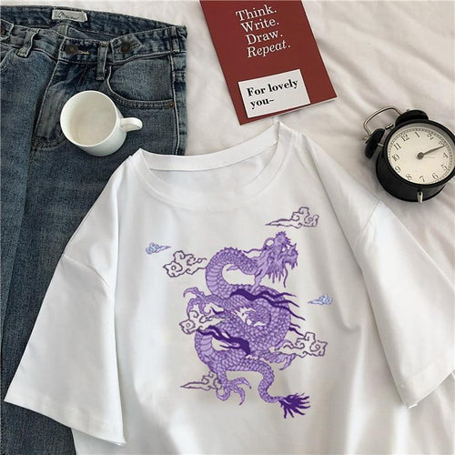Over-sized Purple Dragon T-shirt - Momo Babe