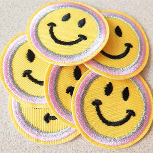 Smiley Face Embroidered Patches Set - 6 pcs - Momo Babe